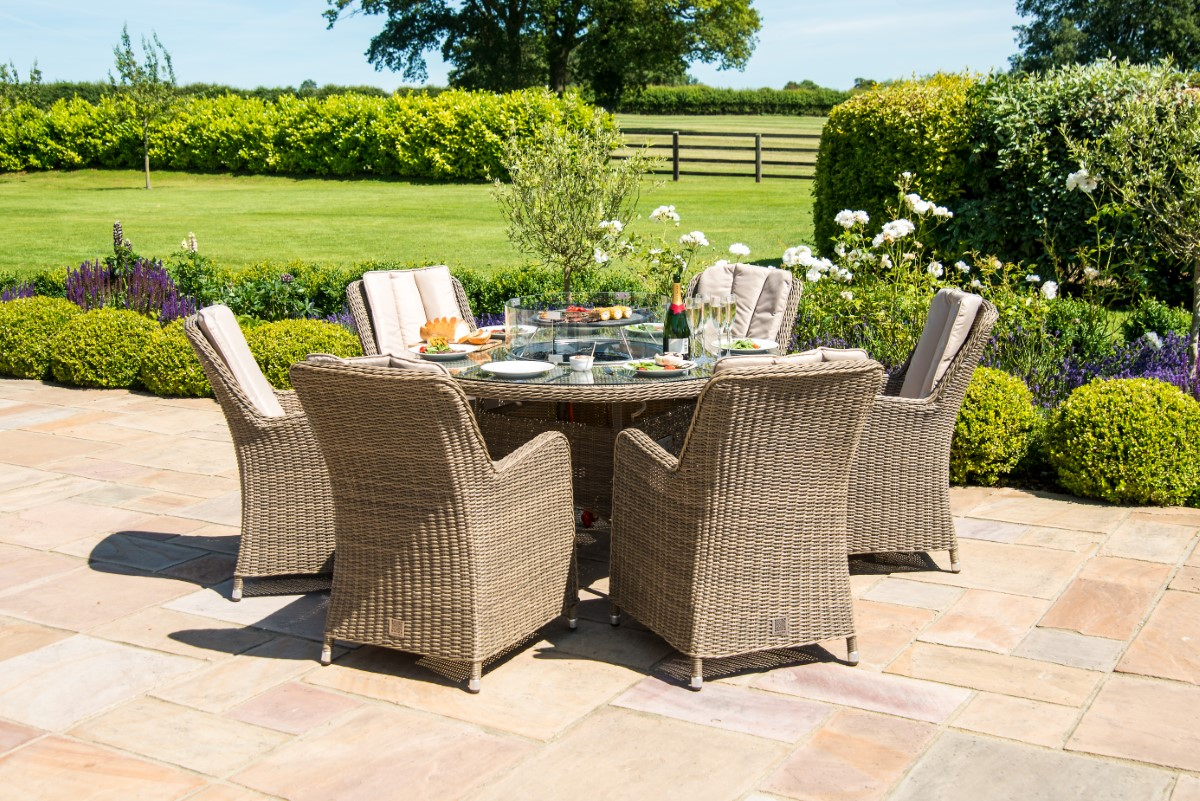 Picture of: Maze Rattan Winchester 6 Seat Round Fire Pit Dining Set With Venice Chairs Lazy Susan Ls Living